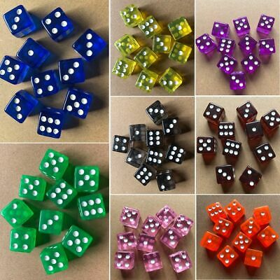 10pcs 16mm Six Sided D6 RPG Clear Transparent Straight Corner Dice Party Tool