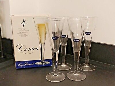 4x Conica Blown Crystal glass Champagne Flute Glasses 21cl