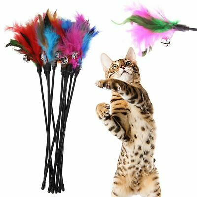 5Pcs Cat Toys Soft Colorful Cats Feather Color Bell Rod Toy Kitten Funny Playing