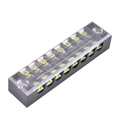 600V 15A 8 Positions Dual Rows Covered Barrier Screw Terminal Block Strip MC
