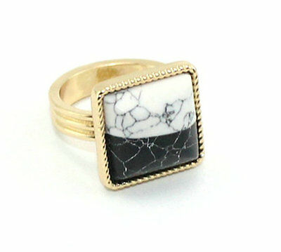 Gold Plated Oval Turquoise Cocktail Band Ring JZ0335