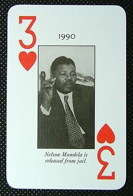 1 x playing card 1990 Nelson Mandela is released from jail South Africa 3H B1