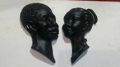 Vintage 1950s African Lady man Head Pair Wall Plaque Black Plaster Tretchikoff