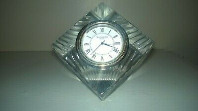 Waterford Crystal Cube Desk Clock Seiko Clock Insert Sighned Tested