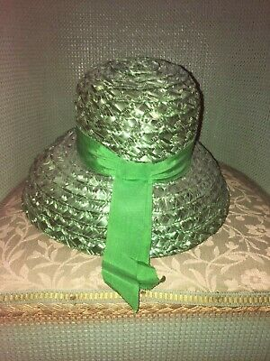 Gorgeous Vintage  1950S Green Straw Turned Down Brim Hat -Lovely!