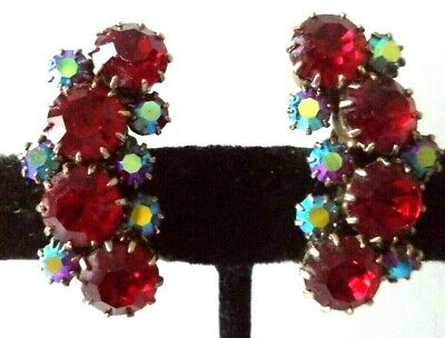 "*rare* Vintage Estate Signed Kramer Ab Rhinestone 1 1/4"" Clip Earrings!!! G466B"