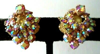 "Stunning Vintage Estate High End Layered Ab Rhinestone 1"" Clip Earrings!!! G466F"