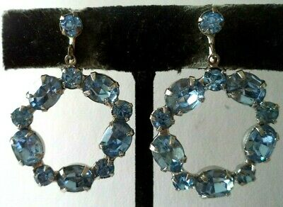 "Stunning Vintage Estate High End Blue Rhinestone 1.5"" Screw Earrings!!! G466Q"
