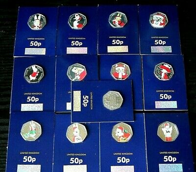 🎅 2016 2017 2018 BEATRIX POTTER 50p sets BU XMAS 🎄 COLOUR  COINS