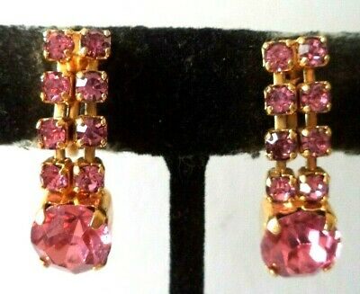 "Stunning Vintage Estate High End Rhinestone Dangle 1"" Screw Earrings!!! G467K"