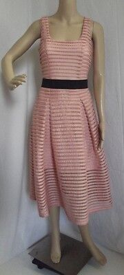 NEW YORK COMPANY Small CORAL PINK DRESS mesh overlay square neck sleeveless midi