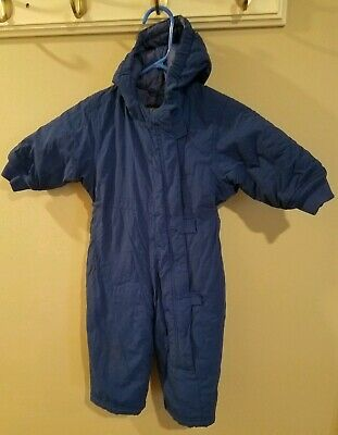 8cfef0027 Lands End Snowsuit Bunting Winter Blue Hooded Insulated Boys Size 2T one  piece