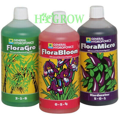 GHE Flora Series The Original 3 part Nutrient 1LTRS Decant Grow Micro Bloom
