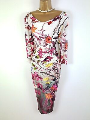 03f62145bb0 PHASE EIGHT IVORY Pink Floral Butterfly Cowl Stretch Wiggle Dress UK ...