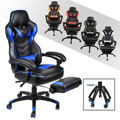 Racing Gaming Chair Massage Ergonomic Swivel High Back Office Desk Seat Footres