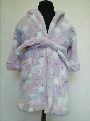 Girls 9-12 months hooded pink with white llamas fluffy dressing gown