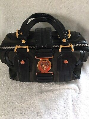 61cae82cd74c1e Gucci Aviatrix Boston Gray Suede & Black Patent Leather Satchel Purse Bag