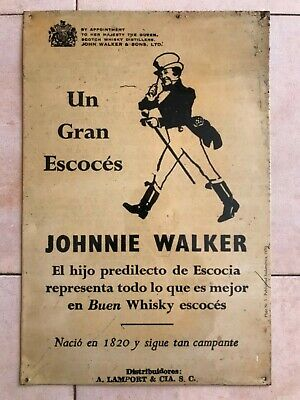 ANTIGUO CARTEL PLACA DE CHAPA JOHNNIE WALKER WHISKY ESCOCES 45x30cm