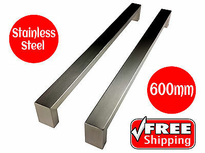 LONG STAINLESS STEEL DOOR HANDLE SET ENTRANCE PULL 600mm SATIN FINISH SQUARE NEW