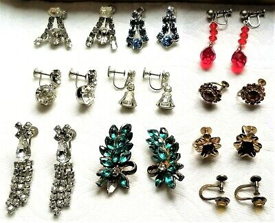 Lot of 10 Pr Vintage/Deco Rhinestone/Crystal Earrings-1 Citrine-2 w Minor Repair