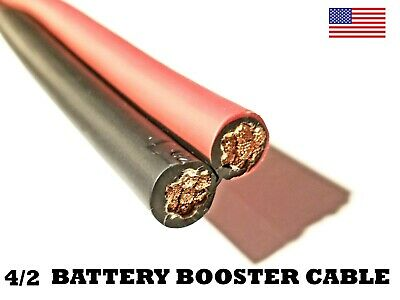 Battery Booster Jumper Cable Bonded Wires Flexible Copper 2 OR 4 Gauge Duplex