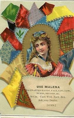 Malena Remedy*chapped Hands Face Lips Cuts Burns*crazy Quilt*quackery*trade Card