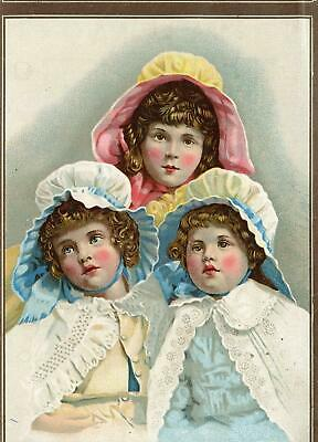 Malena Remedy*quackery*3 Rosy Cheeked Little Girls*victorian Trade Card