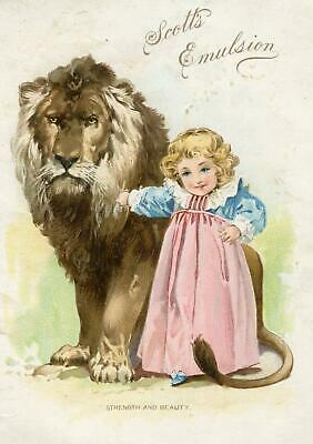 1894 Scott's Emulsion*strength & Beauty*lion & Girl*thomas & Wylie Lithograph