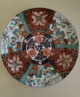 "Antique 12 1/2"" Meiji Arita Imari Charger 19th Century Japanese Porcelain Signed"