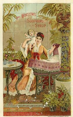 1885-1886 May Thru April Calendar Trade Card*mrs Winslow's Soothing Syrup