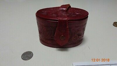 Vintage Mexican made Leather  small purse unique design maroon embossed