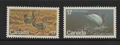 Canada No 853 To 854, Endangered Wildlife: Whitefish & Prarie Chicken,  Mint Nh