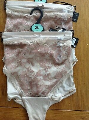2e27f4e75f High Leg Knickers Size 26 M s Autograph 2 Pair Nude Mix With Two Tone Lace  New