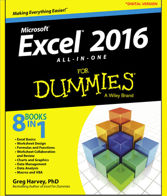 Excel 2016 For Dummies ALL‐IN‐ONE - (Digital version)(PDF)NEW BOOK FAST DELIVERY
