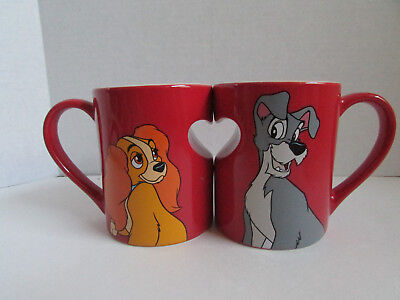 Disney Parks LADY and the TRAMP Red Heart Ceramic Coffee Mugs Cups Set
