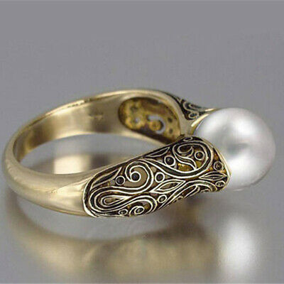 18k Yellow Gold Plated Rings for Women Round Cut White Pearl Ring Size 6-10