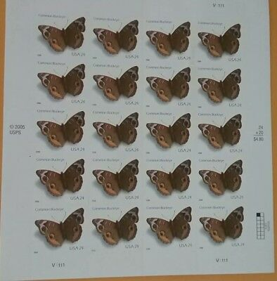 U.S. Postage COMMON BUCKEYE, Mint sheet of twenty, 24c stamps. Sc# 4OO1,  2006