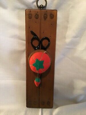 Wooden Scissors Holder With Tomato Pincushion