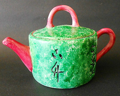 Teapot Ceramic Green/Red Reproduction Staffordshire England 1760