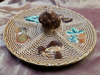 Retro Vintage Serving Plate with Mushroom Toothpick Holder Made in Japan