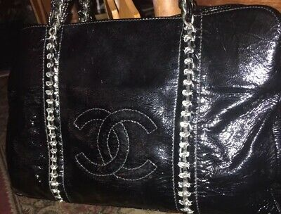 7270263bc11c CHANEL LEATHER MODERN Chain East/West Tote - $524.00 | PicClick