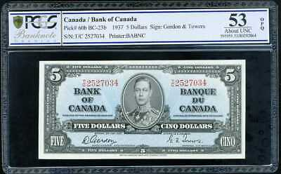 Canada 5 Dollars 1937 P 60 About Unc Pcgs 53 Opq