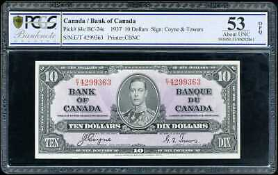 Canada 10 Dollars 1937 P 61 About Unc Pcgs 53 Opq