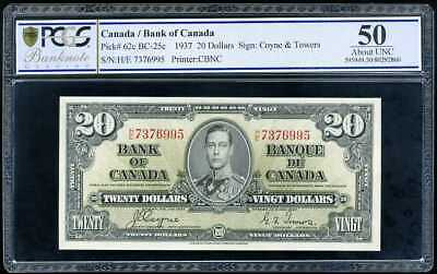 Canada 20 Dollars 1937 P 62 About Unc Pcgs 50