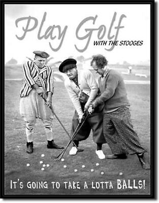 3 Stooges Play Golf Garage Vintage Tin Metal Sign Garage/Man Cave Wall Art