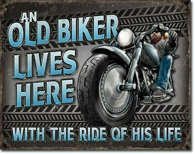 An Old Biker Lives Here Garage Vintage Tin Metal Sign Garage/Man Cave Wall Art