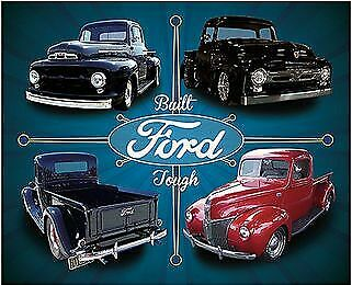 Built Ford Tough Garage Vintage Tin Metal Sign Garage/Man Cave Wall Art
