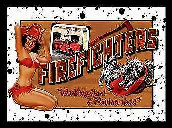Firefighters Working Hard Garage Vintage Tin Metal Sign Garage/Man Cave Wall Art