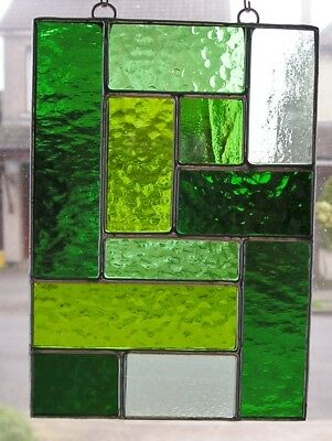 Stained Glass Panel, Abstract / Geometric Suncatcher, Handmade in England