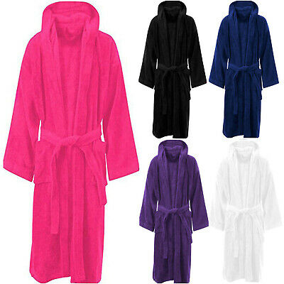 Unisex Hooded Bath Robe Luxury Egyption Cotton Terry Toweling Soft Dressing Gown